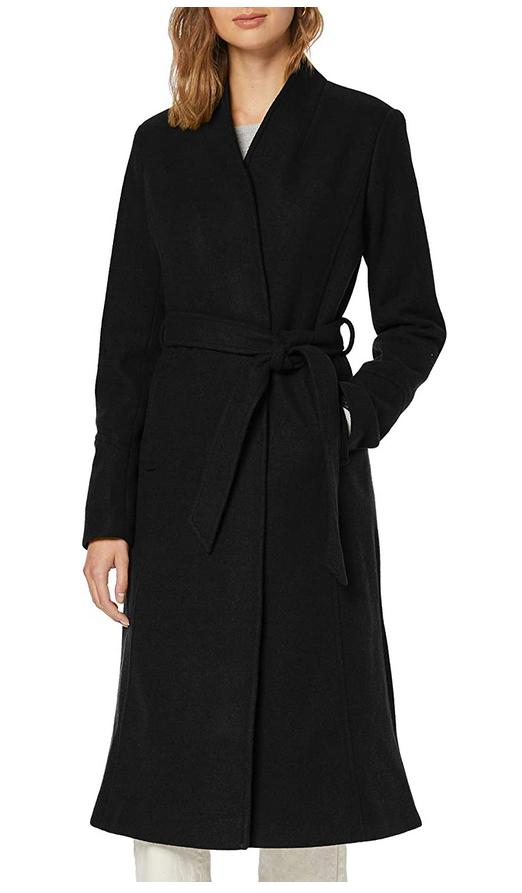 Abrigo largo con cinturón para mujer (find.)